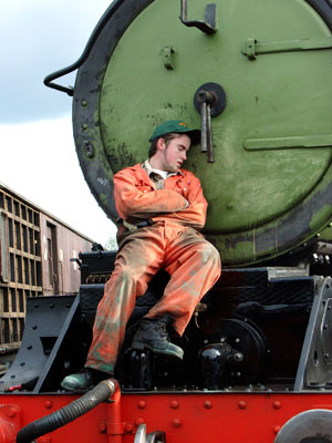 Clearly all the exertions shown above were too much for Leon Salter who was found asleep on the front of the loco ! May 29 2004