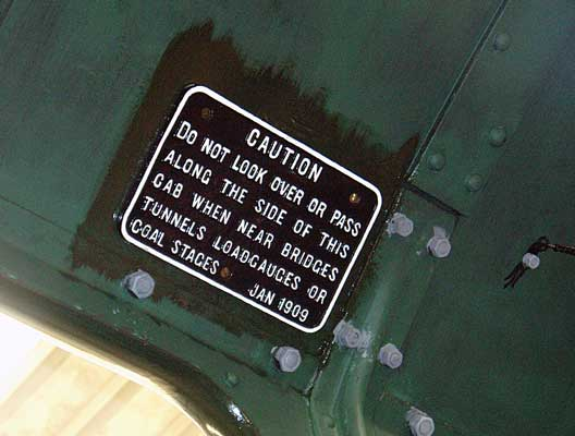 Several of the sundry items have been refitted such as this sign for the locomotive crew. August 01 2004