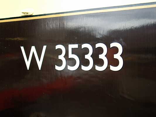 Lettering and numbering of the coach body has taken place on one side. August 28 2004