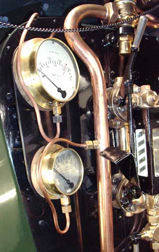 Looking good - the top gauge is the pressure gauge whilst below it is the steam heat gauge. The controlling Mason's valve is just visible top right. August 15 2004
