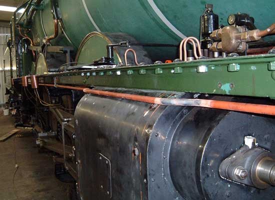 The copper pipe running along the top of the cylinder and to either side of it is to be part of the TPWS. July 25 2004. © Colin Henderson