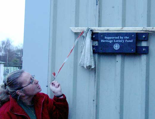 "The shed now sports a slate plaque. This was ""unveiled"" by Angie Hailwood. January 10 2004"