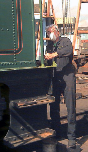 Chris Brown spent a fair bit of time preparing the front section of the tender normally hidden by the tender footplating for painting. September 6 2003 © John Salter