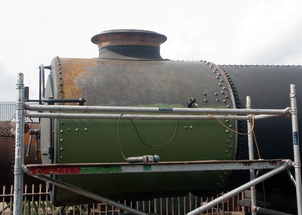 The before. With the upper section of the smokebox largely wired brushed a break was taken for breakfast. July 19 2003