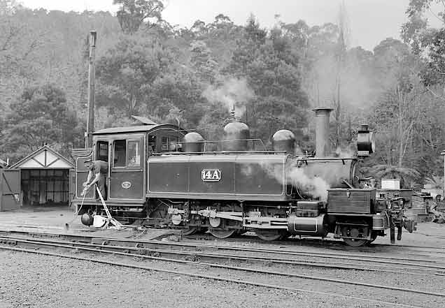 A standard Victorian Railways NA Newport (Victoria) built 2-6-2t No.14A at Belgrave. July 2001