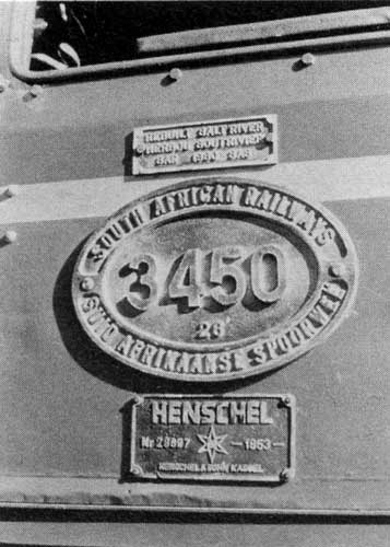 Salt River Works rebuild plate; SAR number plate, showing new class designation 26; and original Henschel maker's plate, No.28697 of 1953. Photo: Rooinek