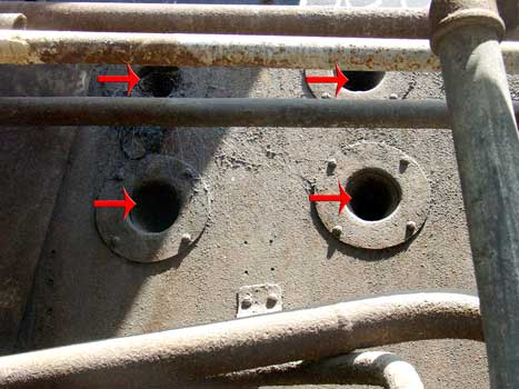 Here four of the six over-fire air holes in the lower section of the firebox side can be seen. 14 October 2004