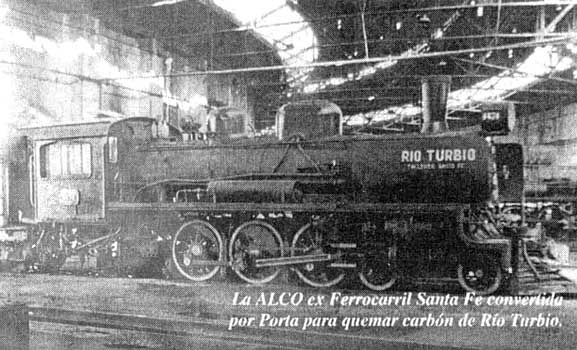 "5'6"" gauge Alco built 4-6-2 No. 4674, originally of the FC Santa Fe, was modified by Porta to burn low grade Rio Turbio mined coal. It was a great success."
