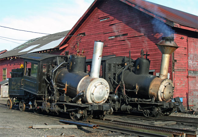 New and old side by side at the Mount Washington workshops. No.9 with its new form of chimney and other modifications stands alongside No.4 which remains in totally unmodified form. © Nigel Day