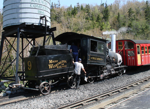 No.9 at Mount Washington Cog Railway's base station, ready for another trip. This view shows how unobtrusive the fuel tank in the tender is. © Nigel Day