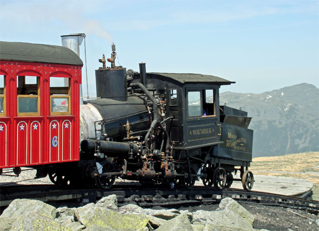 No.9 at the summit station on the Mount Washington Cog Railway during an early trial run in May 2006. Note that the chimney cap is in the closed position. © Nigel Day