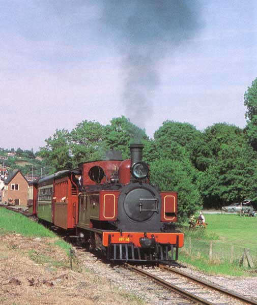 The improved No 14 attacks the start of Golfa Bank as it leaves Raven Square on 17 July 1994. © Peter Johnson