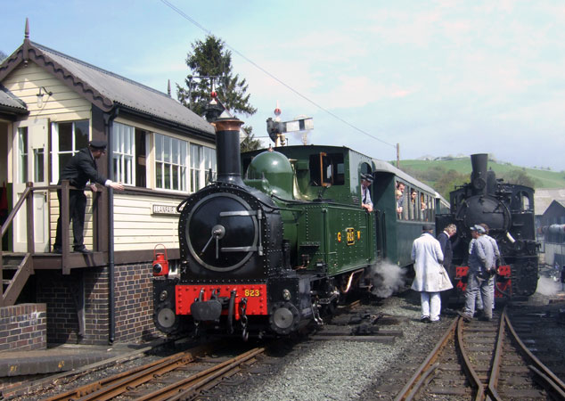 Signalman Houghton waits to collect the single line staff from No. 823 'Countess'. Alongside is No.19. 05 May 2008