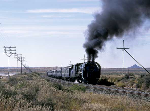 3454 on 'Union Limited' duty somewhere between Kimberley and De Aar. 17 May 1997