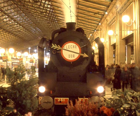 The front end of SNCF 231K8, complete with 'Fleche D'Or' headboard shortly after arrival at Paris Nord. October 12 2002