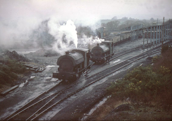 No.2114 sits in front of No.1426 at Brynlliw Colliery. January 31 1978. © Roger Griffiths