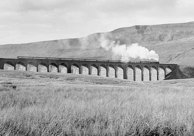 45157 (45407) heads across Ribblehead viaduct. October 2000