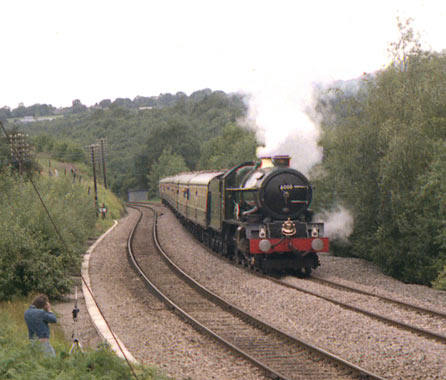 6000 King George V climbing Sapperton Bank at Frampton Mansell. August 1985.