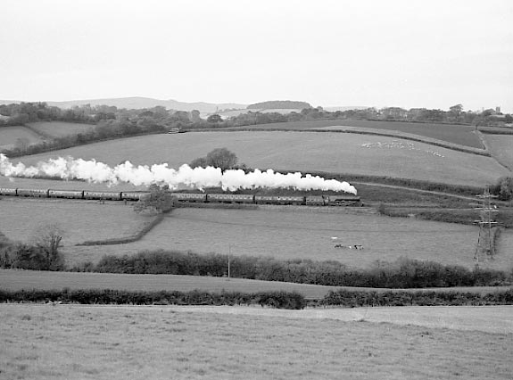 6201 Princess Elizabeth climbs the eastern side of Dainton Bank at Combe Fishacre with the return leg of her Bristol - Plymouth - Bristol run. October 19 2002