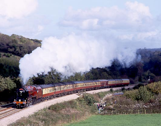 6233 Duchess of Sutherland climbs Dainton Bank. October 2001