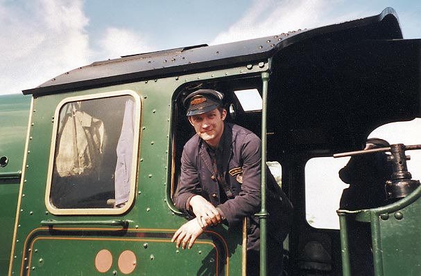 On the footplate of 6024 at Minehead. March 2000