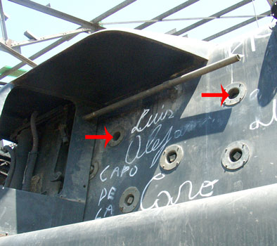 Labeled in this view are the two over-fire air holes high up on the firebox side. 14 October 2004