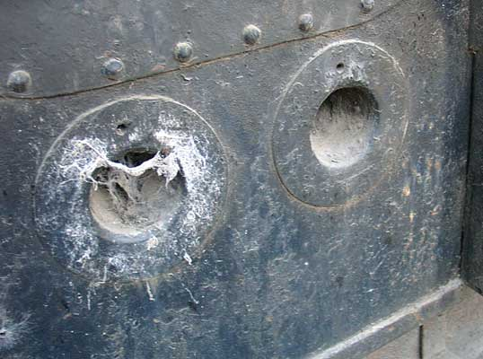 'Argentina' shows the first signs of development Porta undertook on the Gas Producer Combustion System with a good few overfire air holes being present. These two are on the backhead below the firehole door. October 14 2004