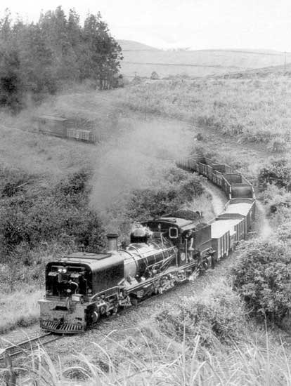 Brand new 'NGG16' No 156 positively gleams as it forges uphill on its first public trip, a goods train from Umzinto to Ixopo, Natal, in October 1968. © A.A. Jorgensen
