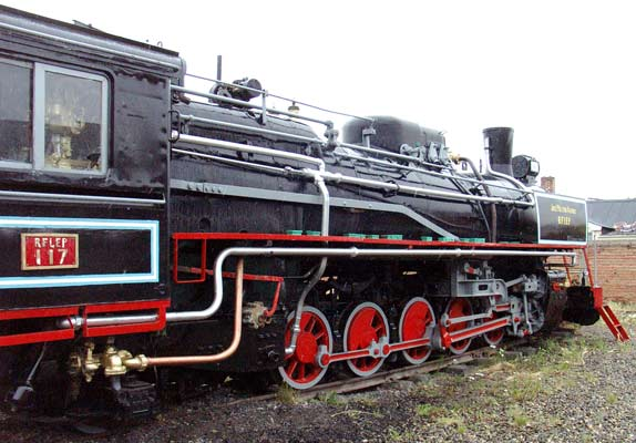 Cosmetically overhauled, but steamable, 2-10-2 No.117 in the compound at Rio Gallegos. January 24 2004