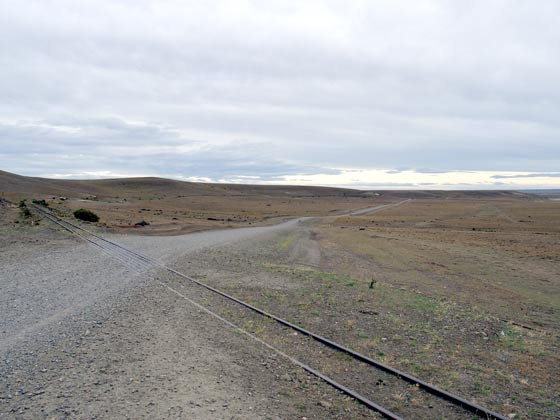 There are a good few level crossings on the line. This one is at the Rio Gallegos end of the line looking towards Rio Turbio. January 24 2003