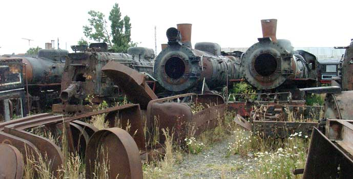 From the left the remains of 103, 114, 111 & 118 along with other bits of mines equipment at Rio Gallegos. January 24 2004