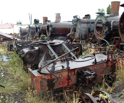 109's frames minus the boiler sits on the coast side of the more complete locos. From the right they are 102, 101, 112, 118, 111, 114 & 103. January 24 2004