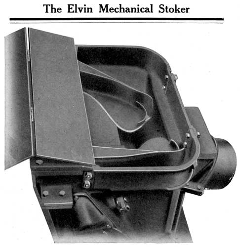 A general view of the Elvin stoker coal distribution head. Note the two mechanical shovels.