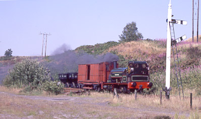 Black Hawthorn built Wellington approaches Marley Hill Terrace Junction with a demonstration coal train. July 30 1994